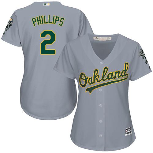 Women's Majestic Oakland Athletics #2 Tony Phillips Replica Grey Road Cool Base MLB Jersey