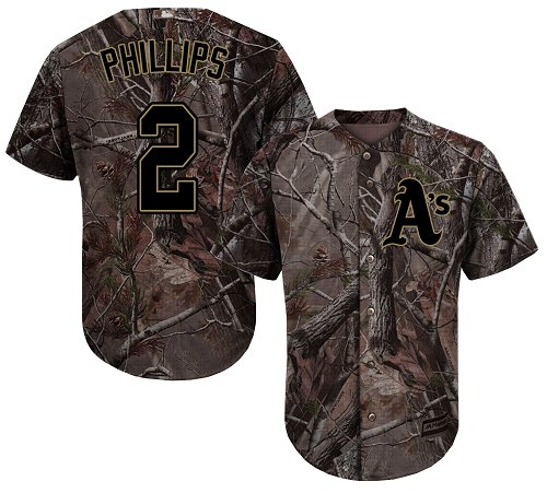 Youth Majestic Oakland Athletics #2 Tony Phillips Authentic Camo Realtree Collection Flex Base MLB Jersey