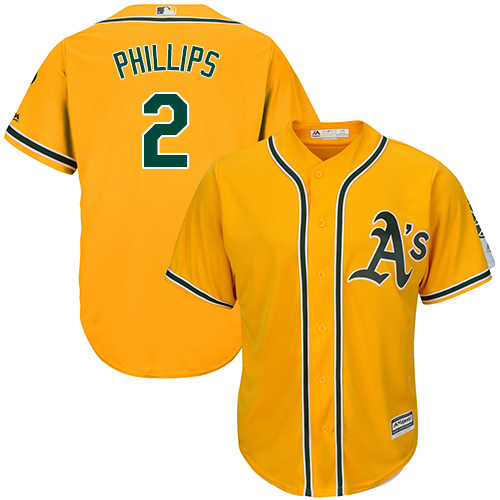 Youth Majestic Oakland Athletics #2 Tony Phillips Authentic Gold Alternate 2 Cool Base MLB Jersey