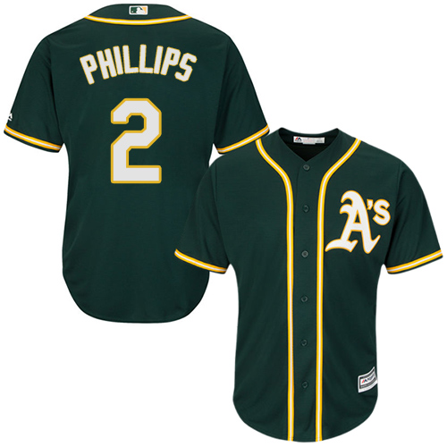 Youth Majestic Oakland Athletics #2 Tony Phillips Authentic Green Alternate 1 Cool Base MLB Jersey