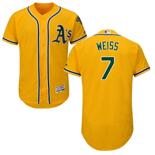 Men's Majestic Oakland Athletics #7 Walt Weiss Gold Alternate Flex Base Authentic Collection MLB Jersey