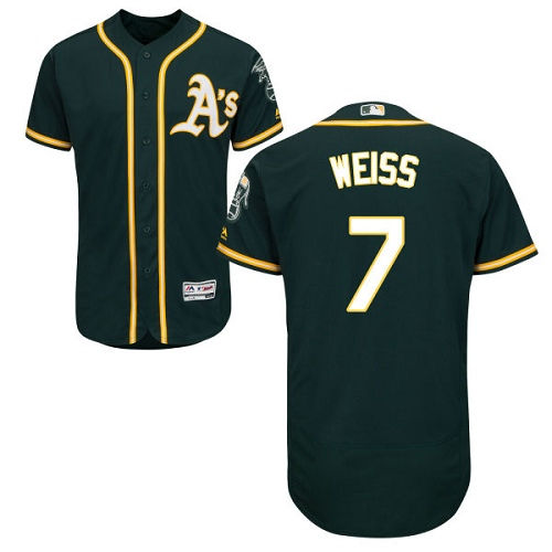 Men's Majestic Oakland Athletics #7 Walt Weiss Green Alternate Flex Base Authentic Collection MLB Jersey