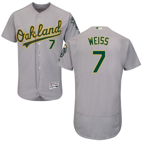 Men's Majestic Oakland Athletics #7 Walt Weiss Grey Road Flex Base Authentic Collection MLB Jersey