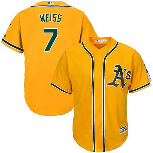 Men's Majestic Oakland Athletics #7 Walt Weiss Replica Gold Alternate 2 Cool Base MLB Jersey