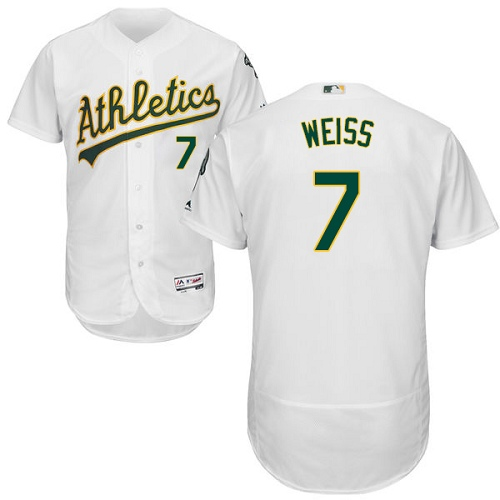 Men's Majestic Oakland Athletics #7 Walt Weiss White Home Flex Base Authentic Collection MLB Jersey
