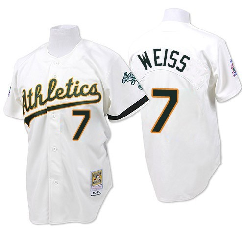 Men's Mitchell and Ness Oakland Athletics #7 Walt Weiss Replica White Throwback MLB Jersey