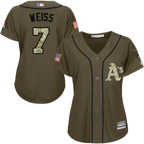Women's Majestic Oakland Athletics #7 Walt Weiss Authentic Green Salute to Service MLB Jersey
