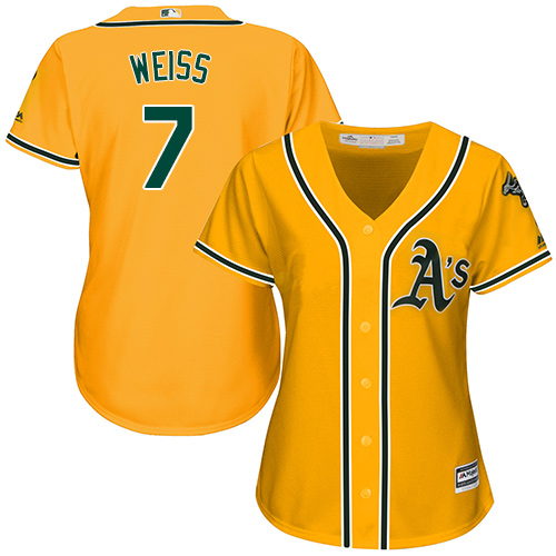 Women's Majestic Oakland Athletics #7 Walt Weiss Replica Gold Alternate 2 Cool Base MLB Jersey