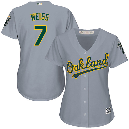 Women's Majestic Oakland Athletics #7 Walt Weiss Replica Grey Road Cool Base MLB Jersey