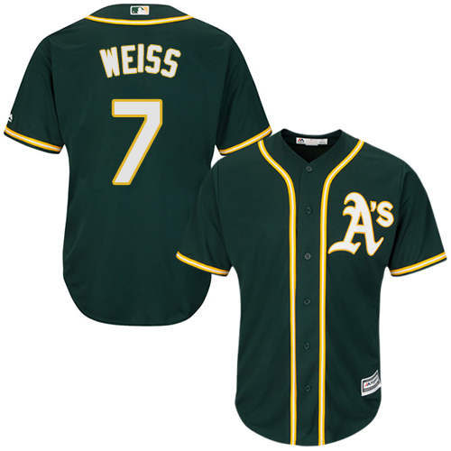 Youth Majestic Oakland Athletics #7 Walt Weiss Authentic Green Alternate 1 Cool Base MLB Jersey