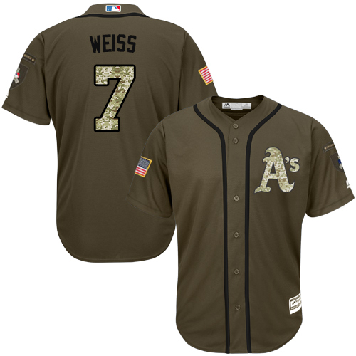 Youth Majestic Oakland Athletics #7 Walt Weiss Authentic Green Salute to Service MLB Jersey