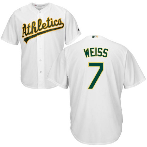 Youth Majestic Oakland Athletics #7 Walt Weiss Authentic White Home Cool Base MLB Jersey