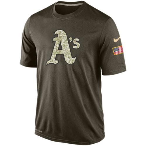 MLB Men's Nike Oakland Athletics Nike Dri-Fit Olive Salute To Service KO Performance T-Shirts