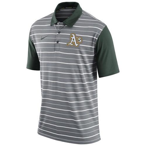 MLB Men's Oakland Athletics Nike Gray Dri-FIT Stripe Polo