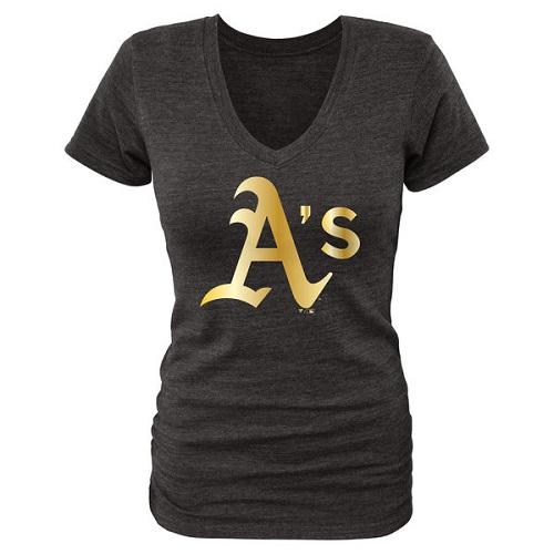 MLB Oakland Athletics Fanatics Apparel Women's Gold Collection V-Neck Tri-Blend T-Shirt - Black
