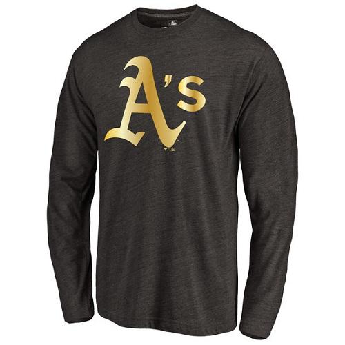 MLB Oakland Athletics Gold Collection Long Sleeve Tri-Blend T-Shirt - Black