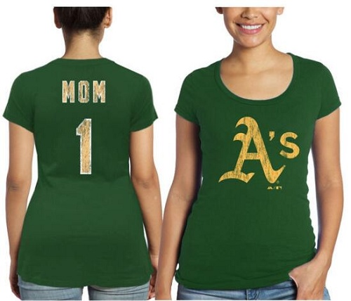 MLB Oakland Athletics Majestic Threads Women's Mother's Day #1 Mom T-Shirt - Green