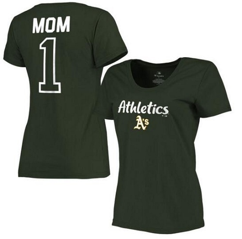 MLB Oakland Athletics Women's 2017 Mother's Day #1 Mom Plus Size T-Shirt - Green
