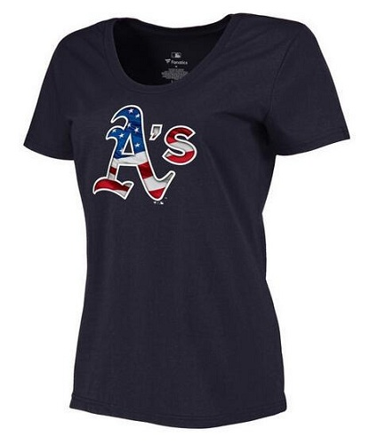 MLB Women's Oakland Athletics Navy Banner Wave Slim Fit T-Shirt