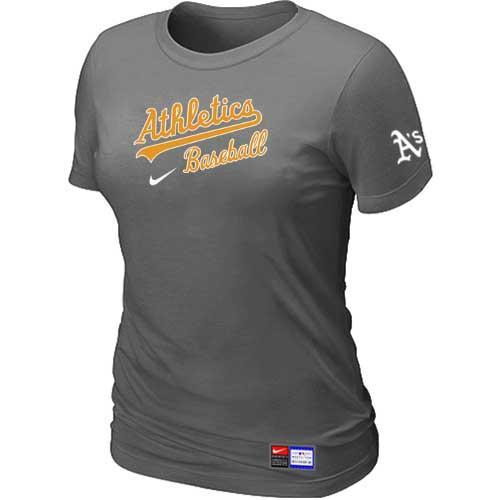 MLB Women's Oakland Athletics Nike Practice T-Shirt - Grey