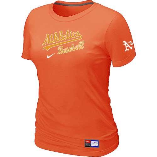 MLB Women's Oakland Athletics Nike Practice T-Shirt - Orange