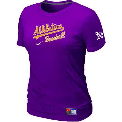 MLB Women's Oakland Athletics Nike Practice T-Shirt - Purple