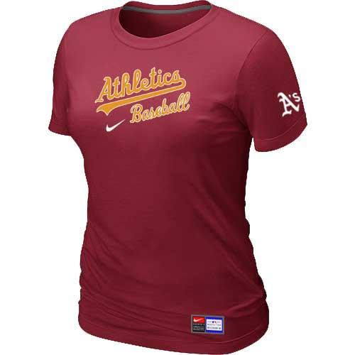 MLB Women's Oakland Athletics Nike Practice T-Shirt - Red