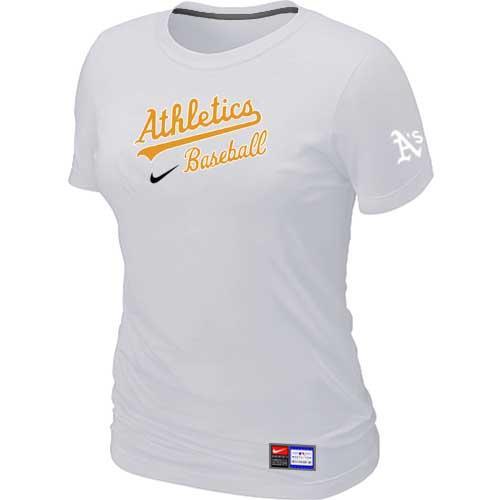 MLB Women's Oakland Athletics Nike Practice T-Shirt - White