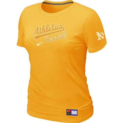 MLB Women's Oakland Athletics Nike Practice T-Shirt - Yellow